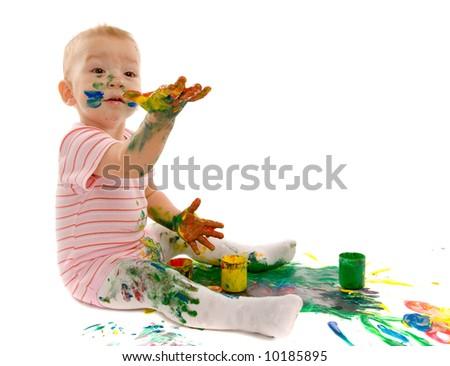 small boy gouache painting on white background - stock photo