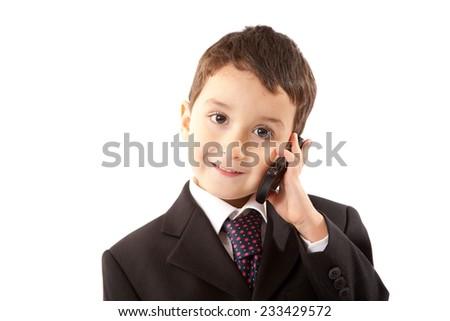Small Boy Holding Telephone - stock photo