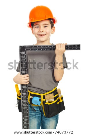 Small boy in unifrom and helmet carry a L square ruler isolated on white background - stock photo