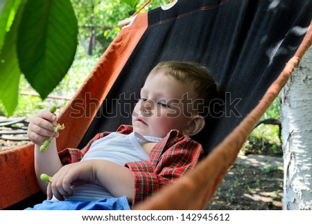 Small boy relaxing in a hammock in the summer heat in the shade of a tree in a lush garden - stock photo