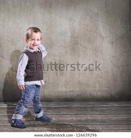 Small boy smilling - stock photo