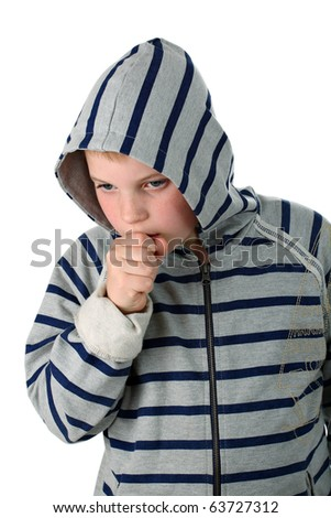 Small boy wearing sweatshirt coughing in a hood isolated on white