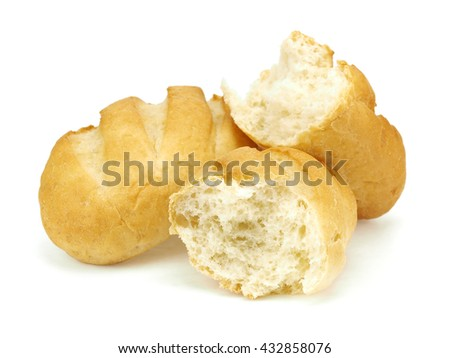 Small bread bun on a white background     - stock photo
