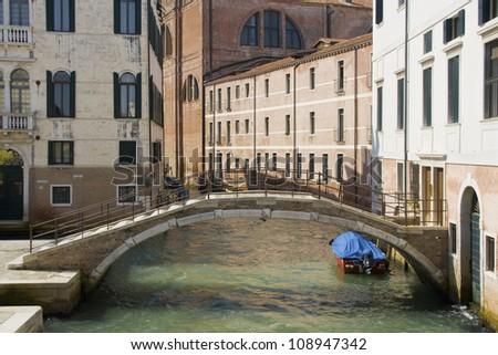 Small bridge in the Sestiere Castello, Venice, Italy. - stock photo