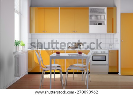 Small bright kitchen with kitchenette and a table in orange (3D Rendering) - stock photo