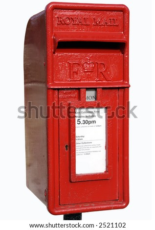Small British red post box with a white background. - stock photo