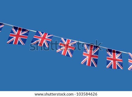 Small British Union Jack celebration flags. - stock photo