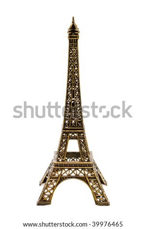 Small bronze copy of Eifel Tower figurine  isolated on white background - stock photo
