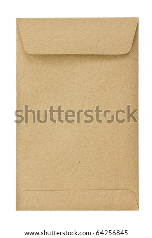 Small brown envelope isolated on white - stock photo