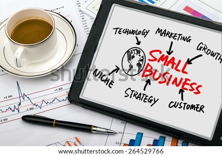 small business concept diagram hand drawing on tablet pc - stock photo
