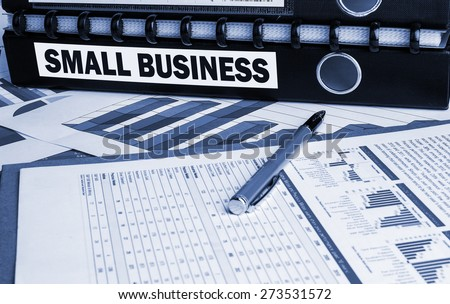 small business concept on document folder - stock photo