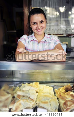 small business: happy owner of a snack-bar - stock photo