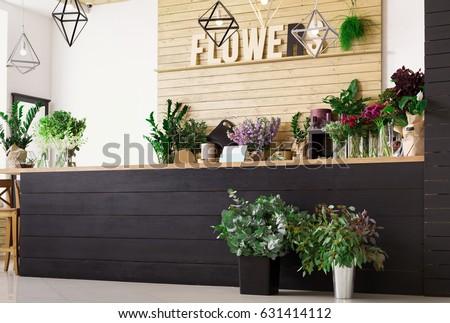 Small Business Modern Flower Shop Interior Stock Photo 631414112