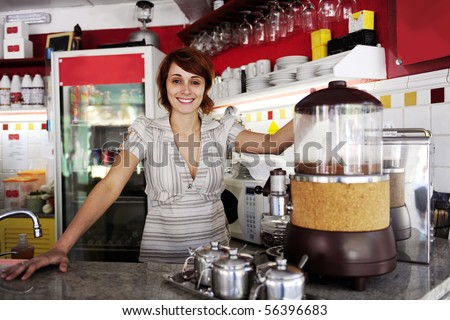 small business: proud owner or waitress working at a cafe - stock photo