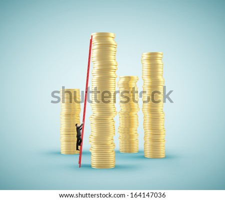 small businessman climbing on ladder to coin tower