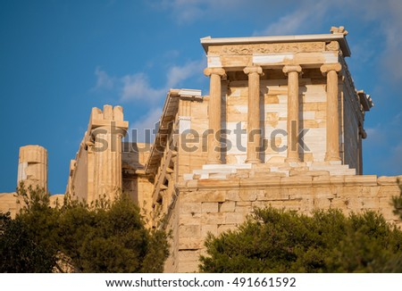 Small but gut preserved Temple of Athena Nike meets the toursits at the very antrance to the Acropolis of Athens.