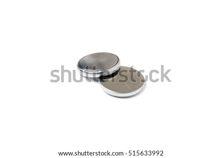 small button lithium batteries isolated on a white background.