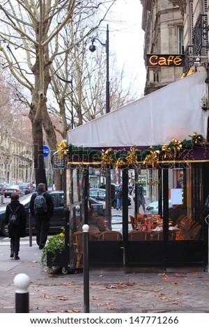 Small Cafe in a parisian street - stock photo