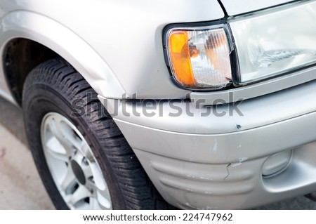 Small car damage an accident - stock photo