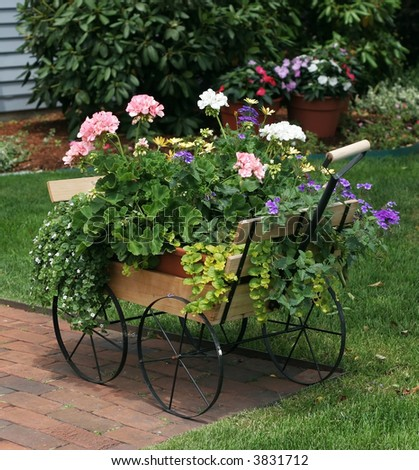 small cart filled with flowers