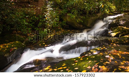 Small cascade by the trail with leaves scattered in the autumn landscape.  - stock photo