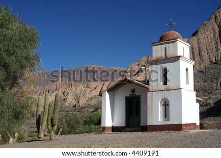 Small catholic church from a town in the andes - stock photo