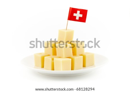 small cheese blocks with a swiss flag in it isolated on white - stock photo