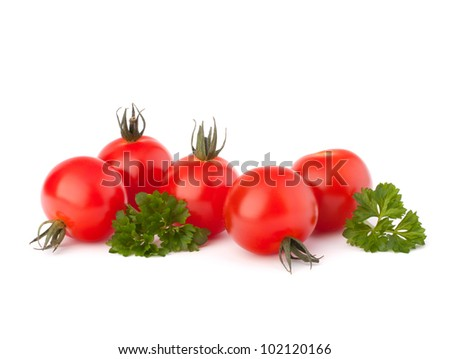 Small cherry tomato and parsley spice  on white background close up