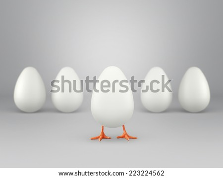 Small chicken coming out of egg, isolated on white background. Concept of business incubator. - stock photo