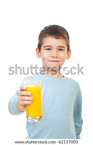 Small child boy offering a glass with fresh orange juice and smiling isolated on white background - stock photo