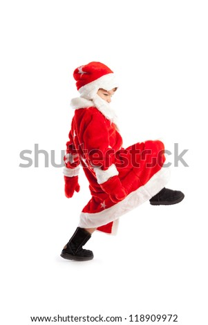 Small child dressed as Santa Claus, isolation - stock photo