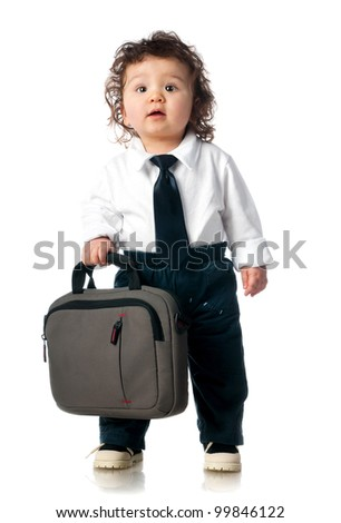 small child dressed in a business with a bag - stock photo