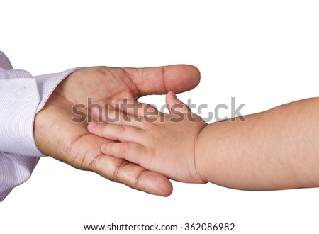 Small child's hand reaches for the big man or grand father hand  isolated on white background