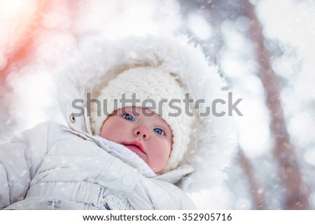 small child winter outdoors - stock photo