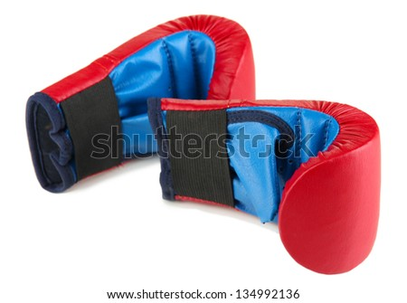 Small children boxing gloves isolated on white - stock photo
