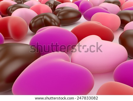 small chocolate and pink valentine velvet hearts on white background - stock photo