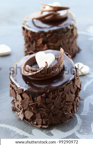 Small chocolate cakes - stock photo