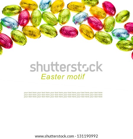 small chocolate eggs candy a Traditional Easter sweet isolated on white background with sample text - stock photo