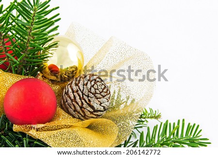 Small Christmas wreath isolated on white background - stock photo