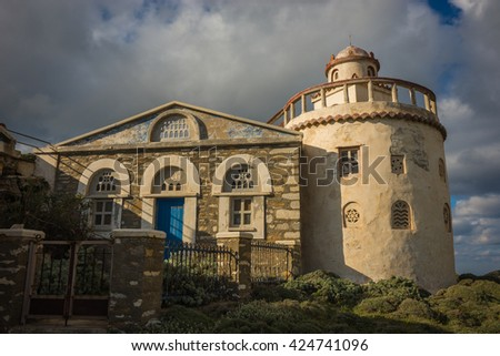 Small church at  side of road near Isternia at Tinos in Greece - stock photo