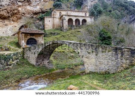 Small church at the side of the road, Tobera, Burgos, Castilla y Leon, Spain - stock photo