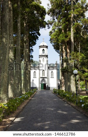 Small church at the village of Sete Cidades on the island of Sao Miguel, Azores - stock photo