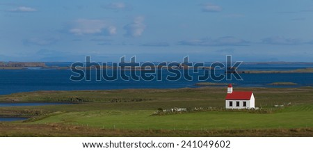 Small church in landscape at Iceland - stock photo