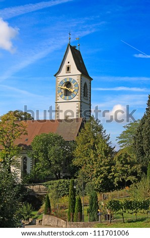 Small church in northern Switzerland near Frauenfeld (center of swiss wine production) - stock photo