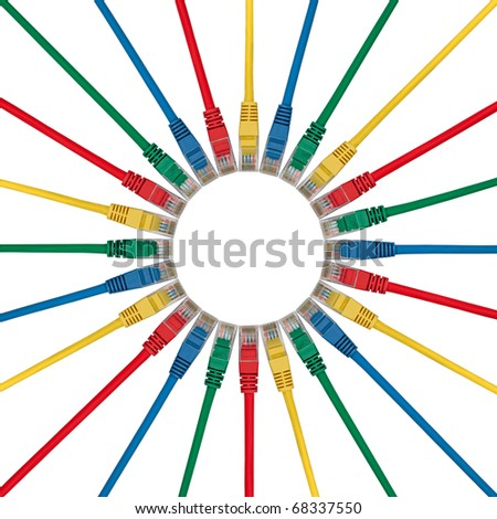 Small Circle of Colored Ethernet Network connection cables plugs isolated on white background - stock photo
