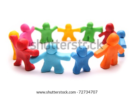 small circle of diverse cheerful plasticine people - stock photo