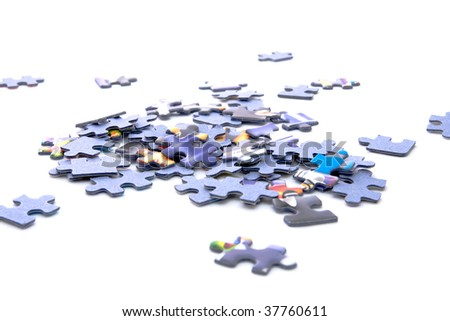 small circle of the puzzles on white background - stock photo