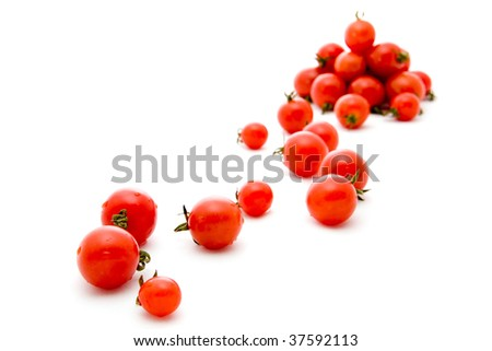 small circle tomato on white background - stock photo