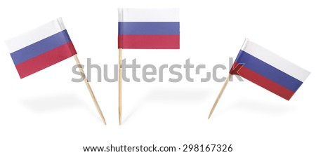 Small cocktail flags of Russia in different positions isolated on white.(series) . Also easy to use as a design element :)  - stock photo