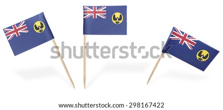 Small cocktail flags of South Australia in different positions isolated on white.(series) . Also easy to use as a design element :)  - stock photo